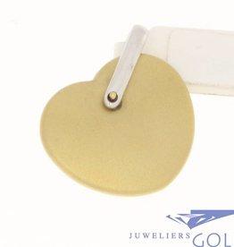 Vintage 18 carat bicolor gold heart-shaped pendant matted