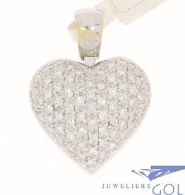 Vintage 18 carat white gold heart-shaped pendant with ca. 2.2ct brilliant cut diamond