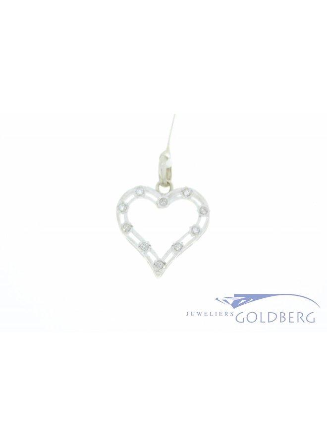 Vintage 18k witgouden open hartvormige hanger met diamant