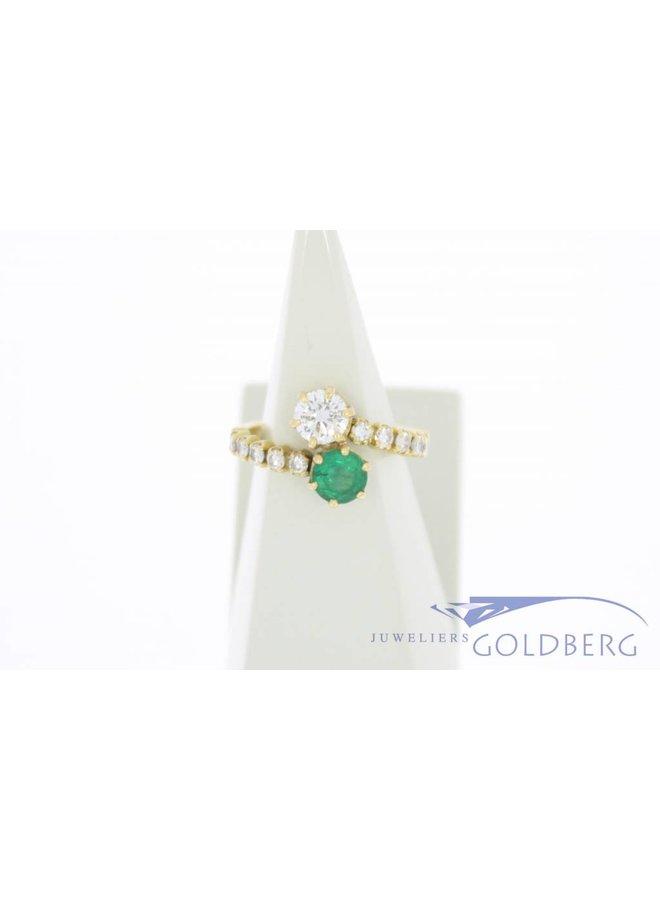 Antique 18 carat gold ring with emerald and  ca. 0.86ct brilliant cut diamond