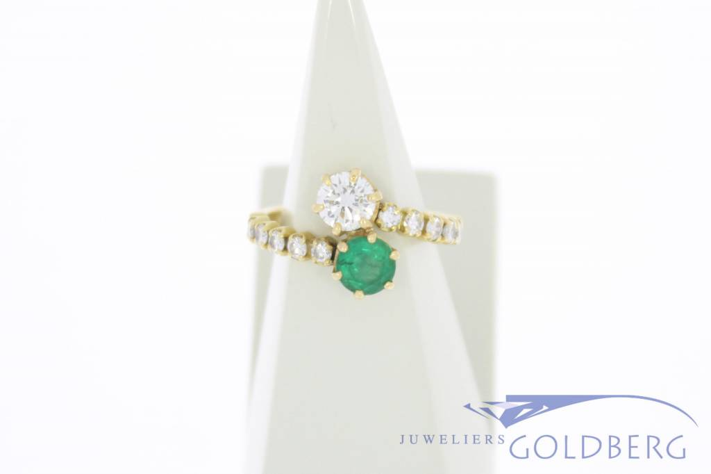 Antique 18 carat gold ring with emerald and  ca. 0.86ct brilliant cut diamond