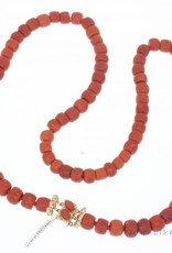 Bloedkoraal collier 62cm, 7-10mm tonnetjes