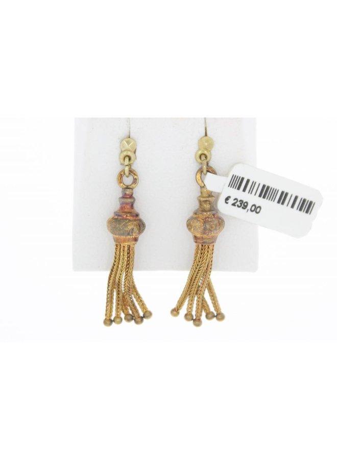 Antieke 14k gouden oorstekers met kwasthangers 1853-1906