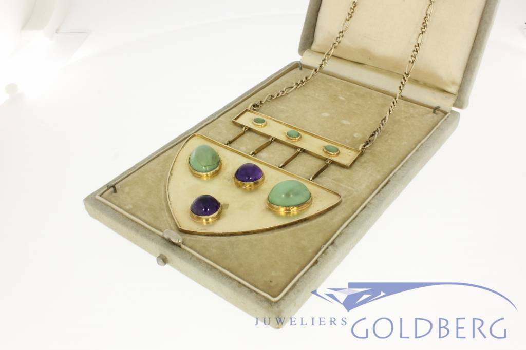 Antique gold plated silver necklace and pendant with amethyst and chrysoprase approx. 1930