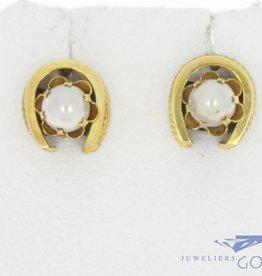 Antieke 14k gouden oorstekers met parel