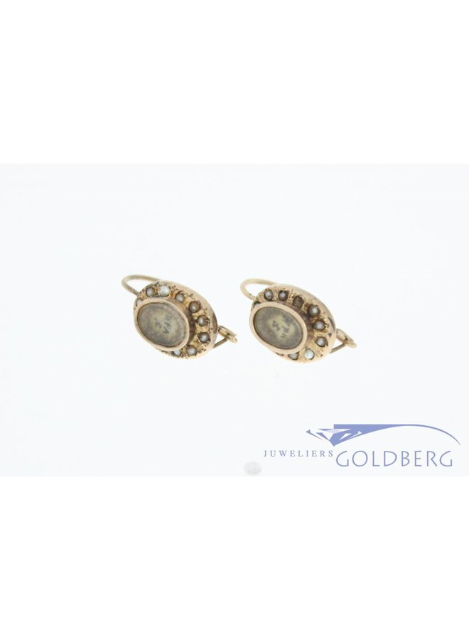 Antique 14 carat gold mourning earrings with stone pearl 1853-1906