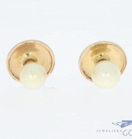 Antique 14 carat gold pair of buttons with pearl