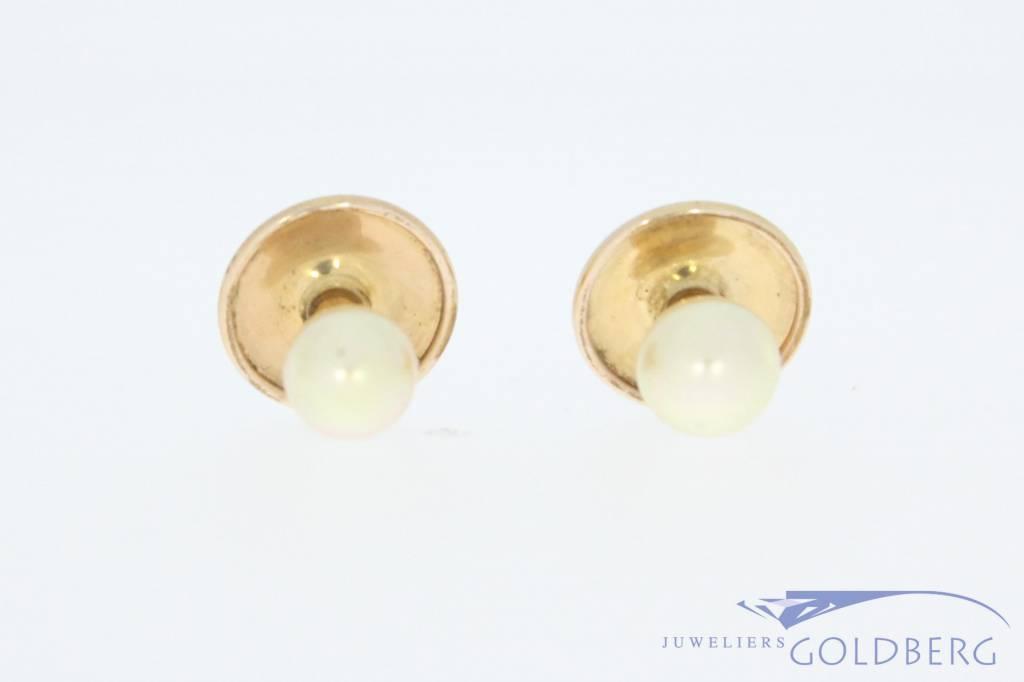 Antieke 14k gouden paar knopen met parel 1906-1953