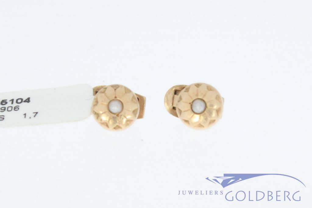 Antieke 14k gouden cirkelvormige paar knopen met parel 1853-1906