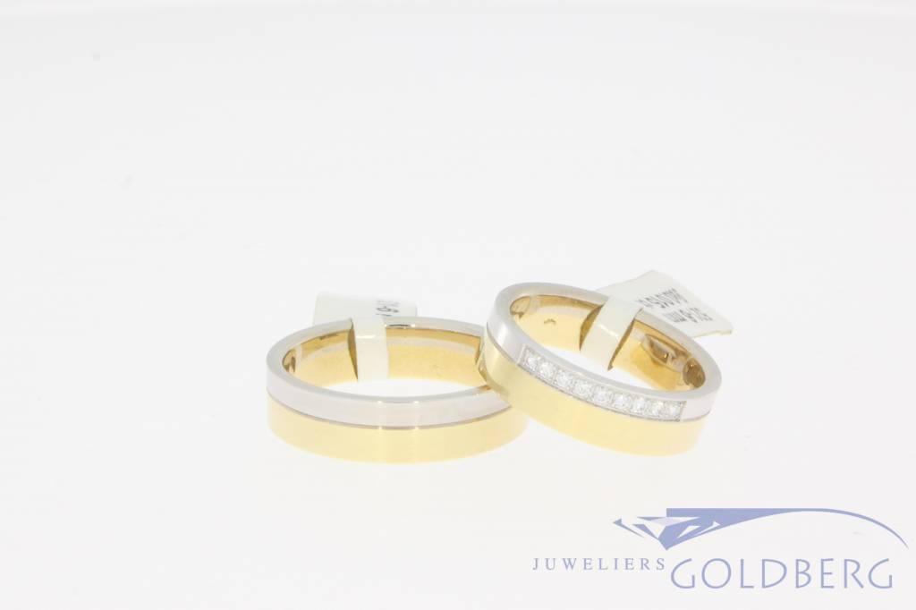 Bicolor gold wedding ring set by Desiree, model 521-6