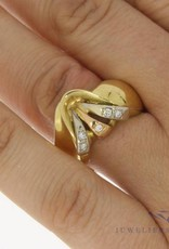Vintage 18k gouden ring tricolor 0.10ct briljant