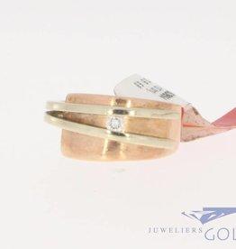 Vintage 14 carat gold bicolor ring 0.10ct diamond