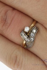 Vintage 14 carat bicolor gold vintage ring with zirconia's