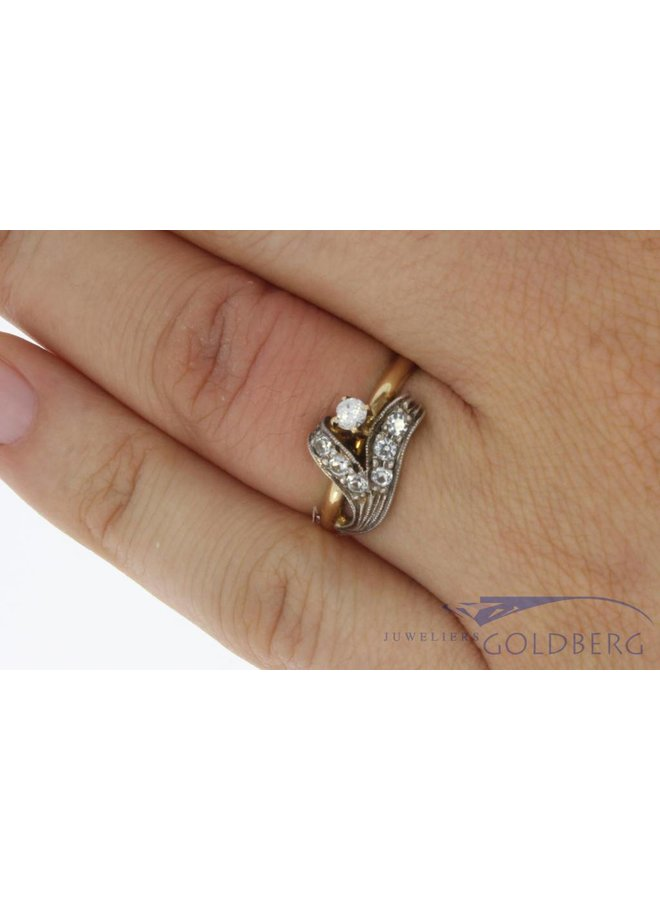 Vintage 14k bicolor vintage ring met zirkonia's