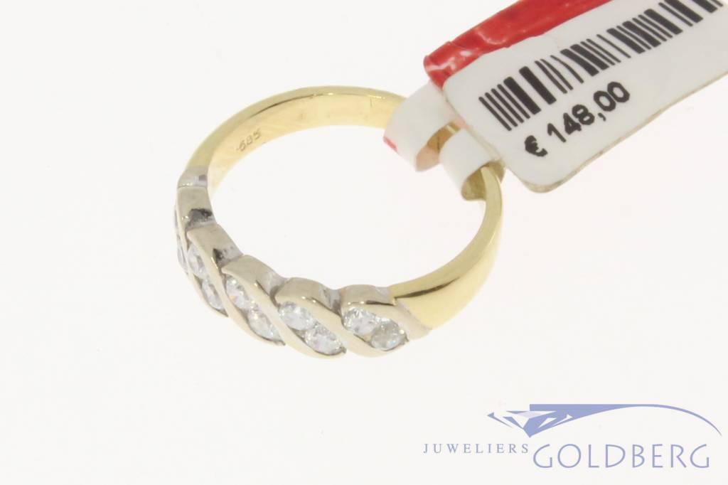 Vintage 14k gouden bicolor ring met zirconia