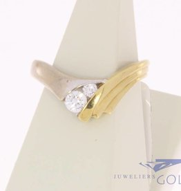 Vintage 14 carat gold bicolor ring with 0.28ct brilliant cut diamond