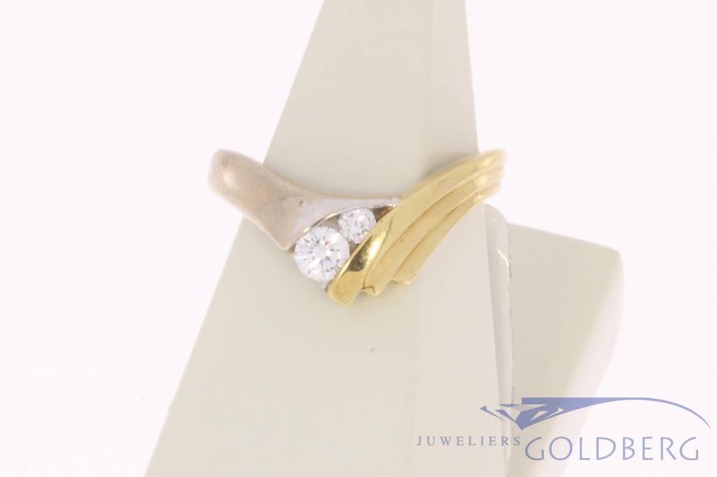 Vintage 14k gouden bicolor ring met 0.28ct briljant