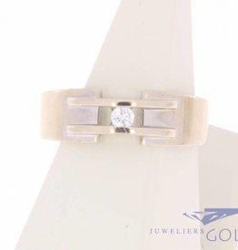 Vintage 14k witgouden ring met  0.08ct briljant