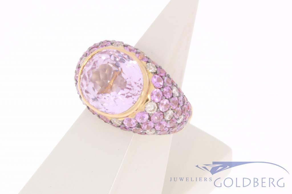 Vintage 18k rose gouden ring met briljant en roze zirconia