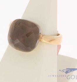 18k rosé gouden design ring facet geslepen bruine steen