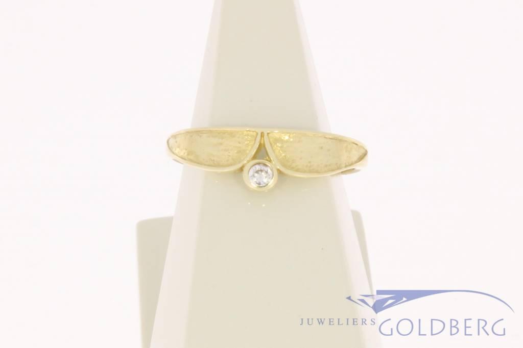 Vintage 14k gouden bewerkte ring met zirconia