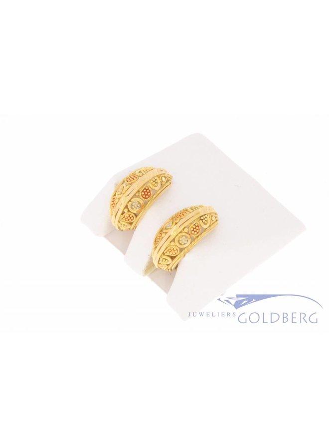 Vintage 20k gouden versierde creolen