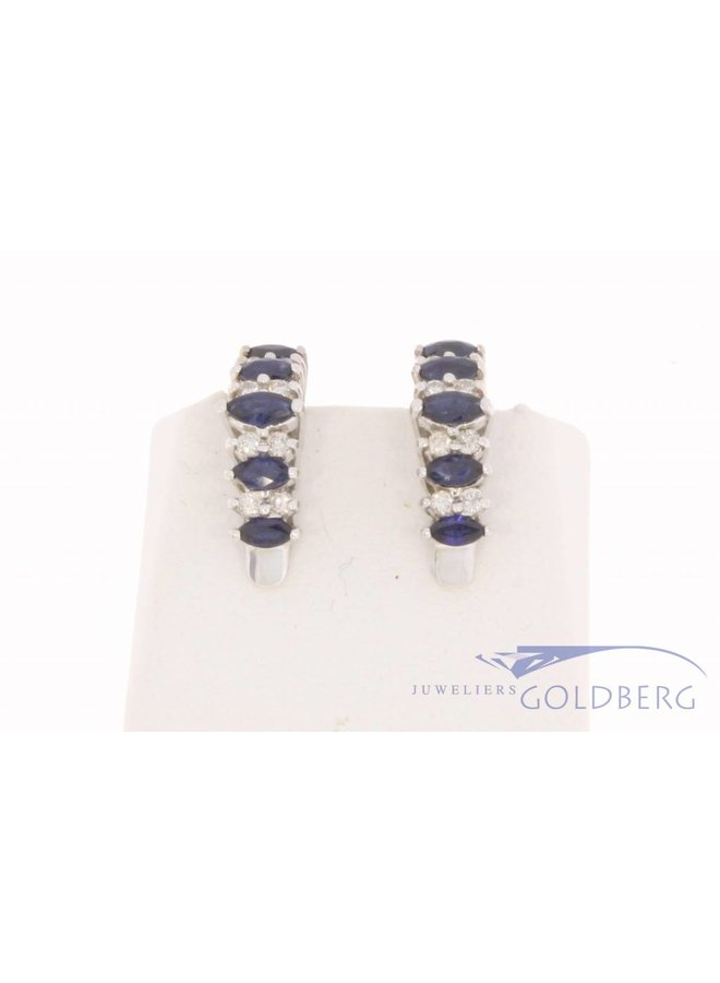 Vintage 18k witgouden oorclips met ca. 0.24ct briljant en blauwe saffier