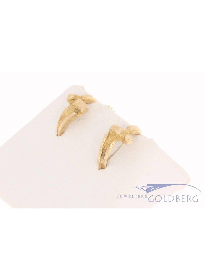 Vintage 14 carat gold edited half creole earrings
