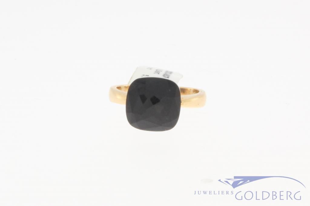 18k rosé gouden design ring facet geslepen zwarte steen