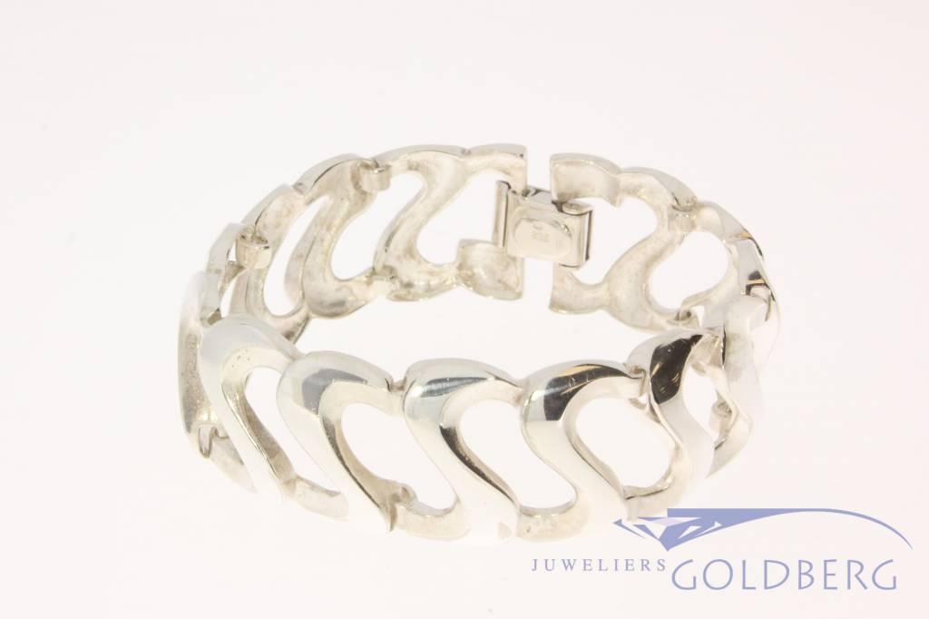 Brede vintage zilveren armband