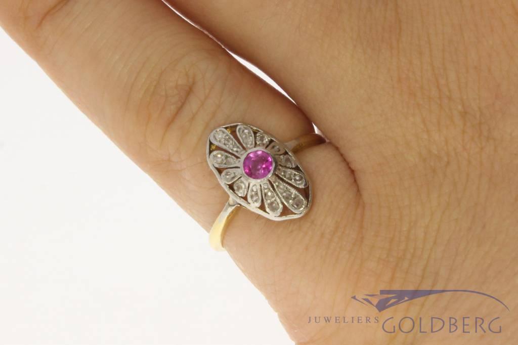 Antieke platina & 14k gouden ring met diamant en robijn ca. 1920