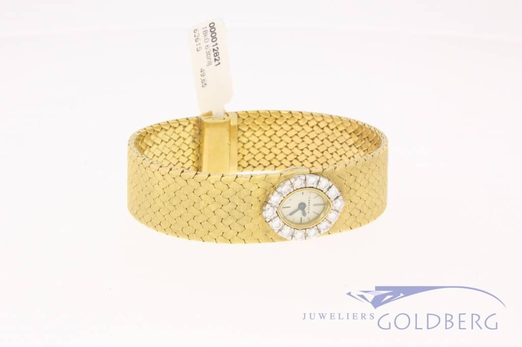 Vintage mechanisch gouden Cartier dameshorloge met diamant