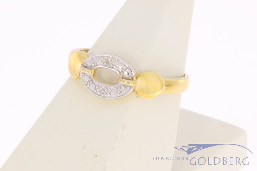 Vintage 14 carat bicolor gold ring with ca. 0.02ct diamond