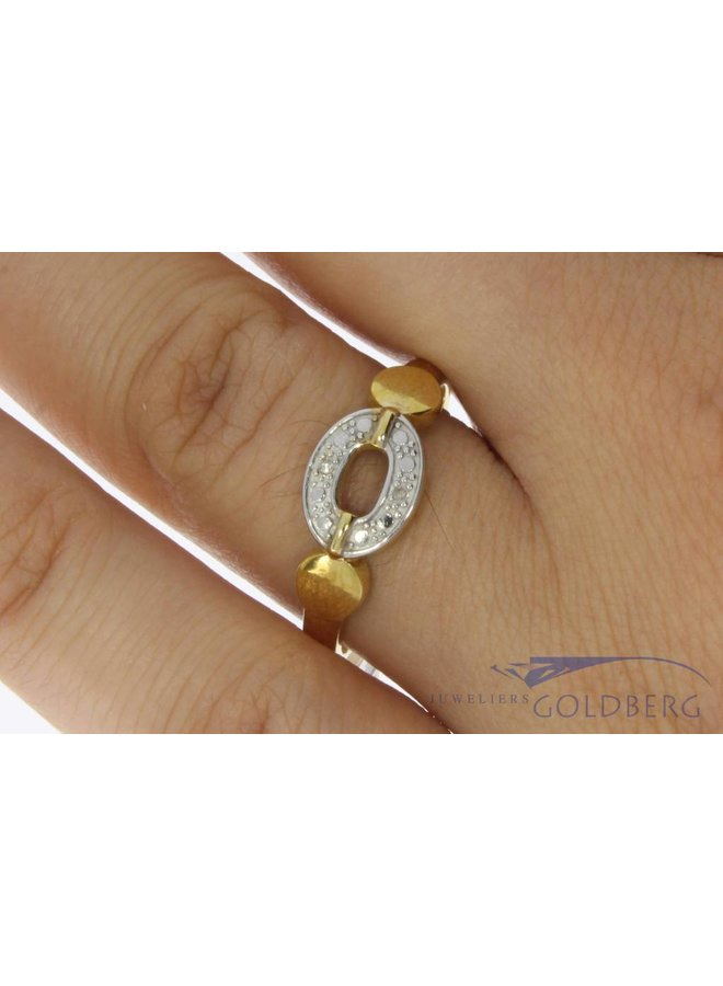 Vintage 14 carat bicolor gold ring with ca. 0.02ct diamond