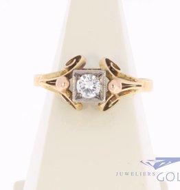 Vintage 14k tricolor gouden fantasie ring met zirconia