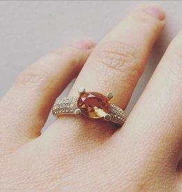 Vintage 14k gouden ring met Citrien en ca. 0.52ct briljant