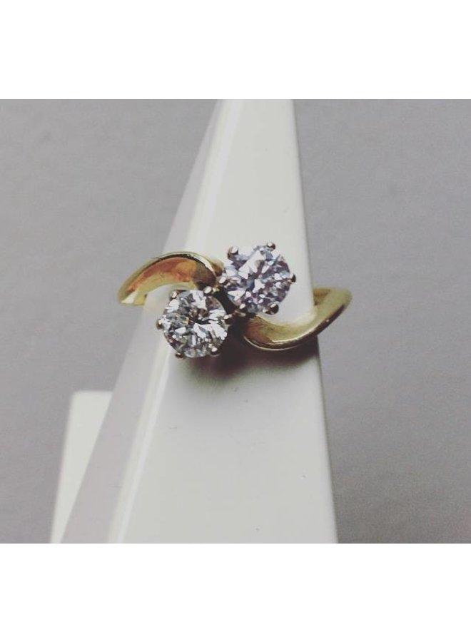 Vintage 14k gouden ring met ca. 0.70ct briljant geslepen diamant