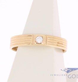 Vintage 14k gouden strakke solitaire ring met zirconia