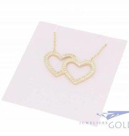 14k gouden collier met dubbel hart zirconia's