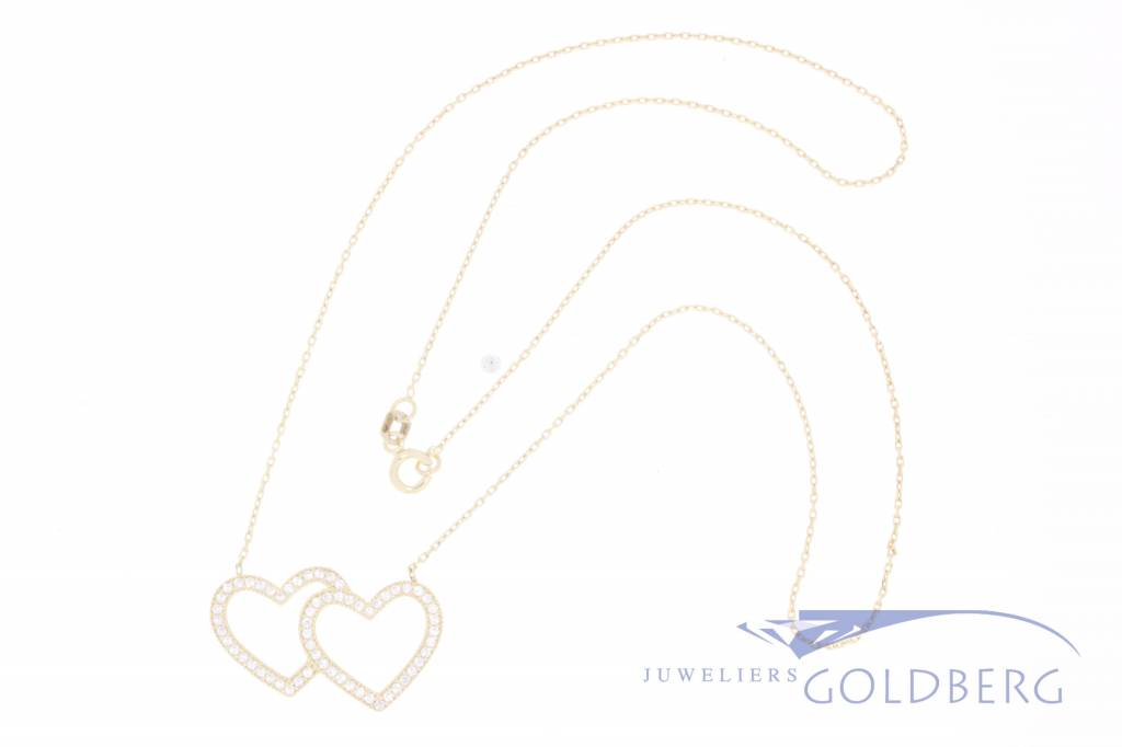 14k gold necklace with double heart with zirconia's