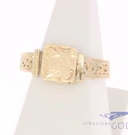 Antique  14 carat gold monogram ring Bernardus van Wilpe 1859-1878