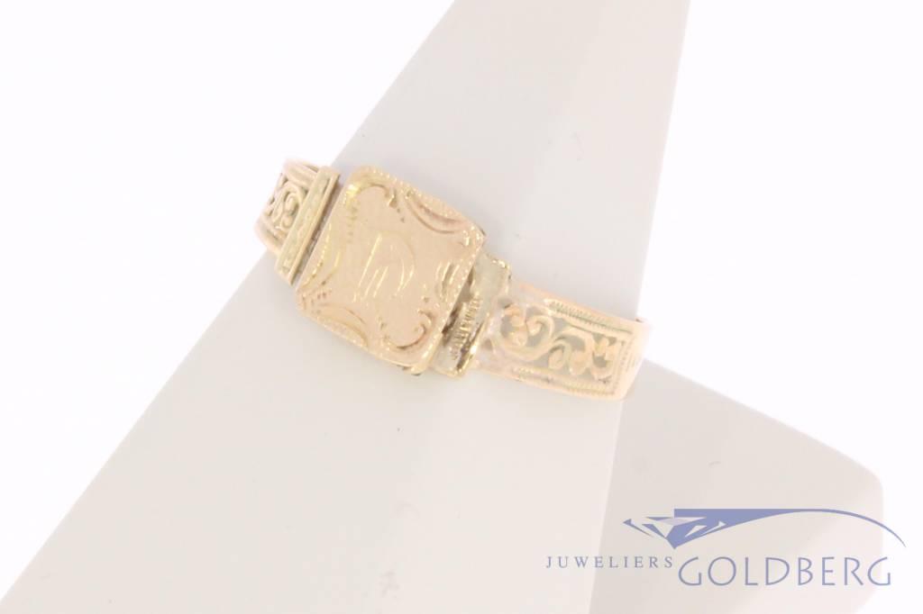 Antique  14 carat gold monogram ring Bernardus van Wilpe 1859-1878