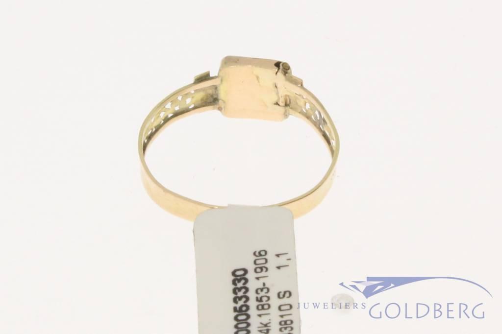 Antieke 14k gouden monogram ring Bernardus van Wilpe 1859-1878