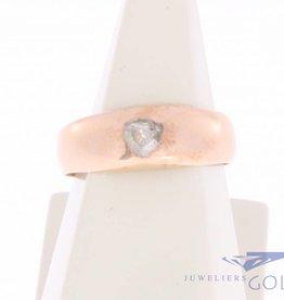Vintage 14k rosé gouden ring met roos geslepen diamant