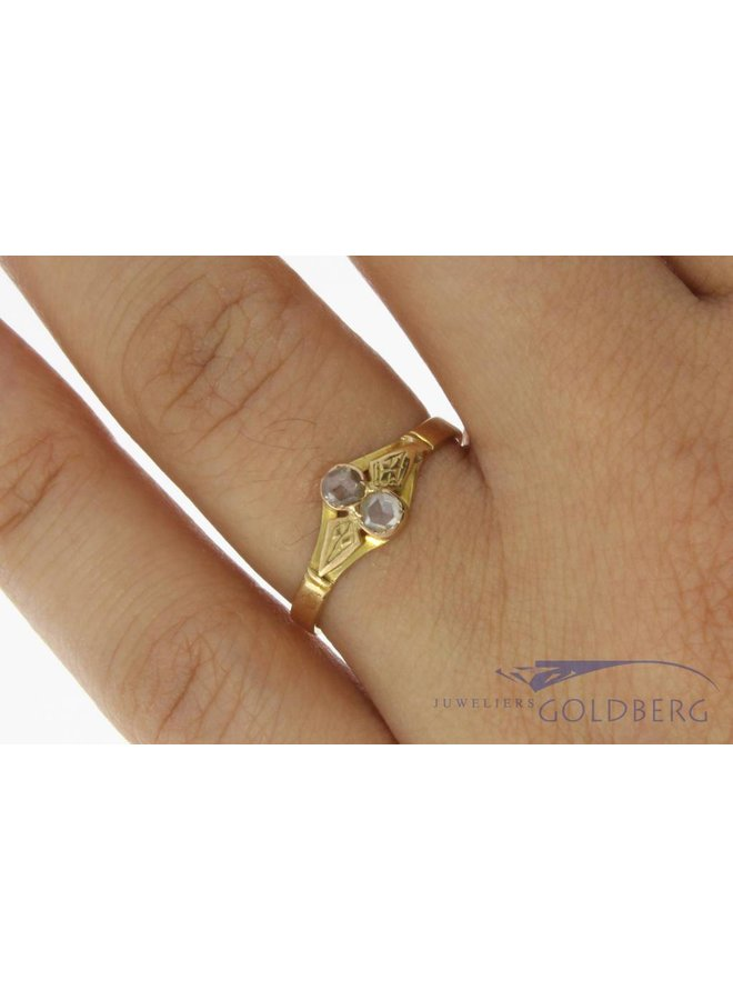 Antieke 14k geelgouden ring met roos geslepen diamant