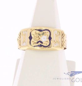 Antique 14 carat gold enamelled ring