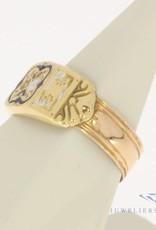 Antique 14 carat gold enamelled ring