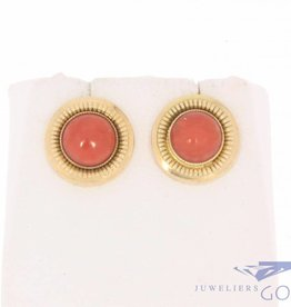 Vintage 14k gouden oorstekers met bloedkoraal groot rond