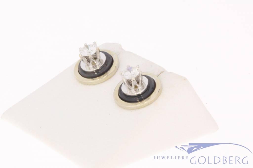 Vintage 14 carat white gold ear studs 0.43ct diamond