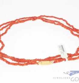 Vintage bloedkoraal collier 140cm 3-4mm